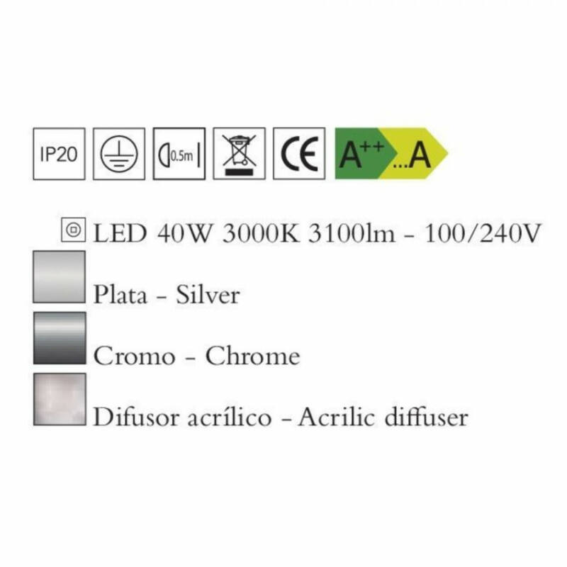 Mantra KNOT 4990 plafoniere crom metal LED 40W LED 3100 lm 2700 K IP20